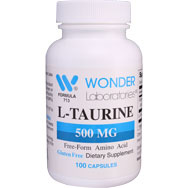 L-Taurine 500 mg | Free Form Amino Acid