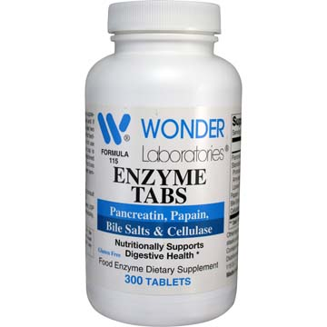 Enzyme Tabs w/ Pancreatin, Papain, Bile Salts & Cellulase