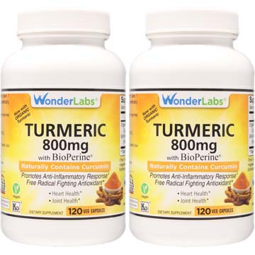 Turmeric 800 mg w/ BioPerine | Naturally Contains Curcumin