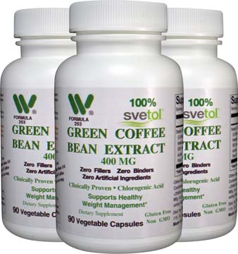 400 mg Svetol ® Green Coffee Bean Extract 3-Pack SHIPS FREE, Plus Free Raspberry Ketone