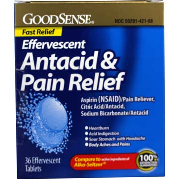 Antacid & Pain Relief Effervescent Tablets from GoodSense | Compare to Alka-Seltzer
