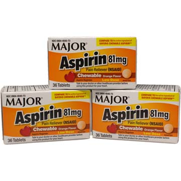 Children's Chewable Aspirin 81 mg | Orange Flavored (3 Pack)
