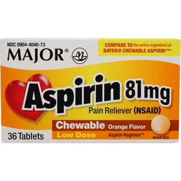 Children's Chewable Aspirin 81 mg Orange Flavored