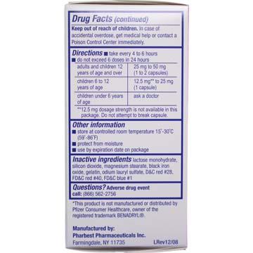 Pharbedryl Antihistamine w/ Diphenhydramine HCI 25 mg