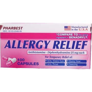 Benadryl Allergy Comparable Diphenhydramine HCI Allergy Medicine 25 mg