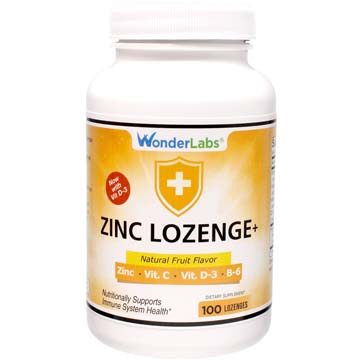 Zinc Lozenges With Vitamin C + Vitamin D3 25mg Of Zinc