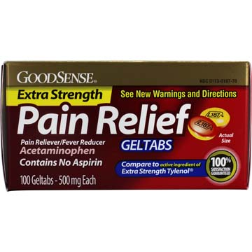 Extra Strength Pain Relief Geltabs from GoodSense - Compare to Extra Strength Tylenol