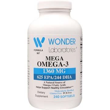 Mega Omega-3 Fish Oil | 1360 mg (625 EPA / 244 DHA)