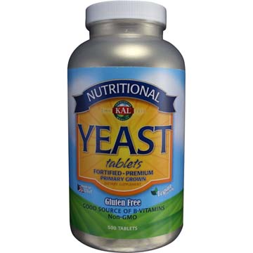Yeast Tablets 3 Grams (3,000 mg)(7.7 Grains) KAL All Natural Nutritional Yeast