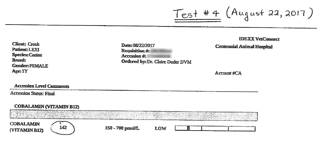 Lexi's EPI B12 Test #4 Results - August 22, 2017