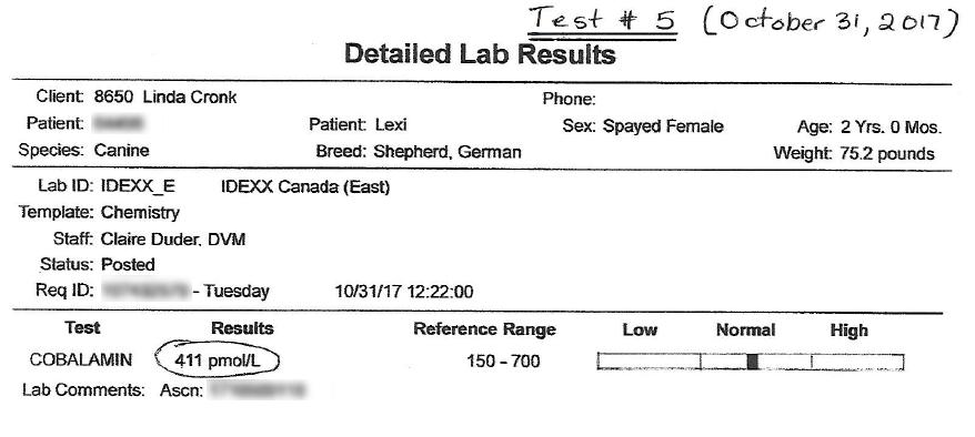 Lexi's EPI B12 Test #5 Results - October 31, 2017
